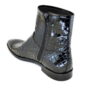 Corrente Black Leather Crocodile Print Men's Double Buckle Zipper Boot