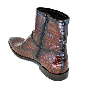 Corrente Brown Leather Crocodile Print Men's Double Buckle Zipper Boot