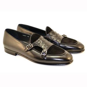 Corrente Black Leather Men's Vamp Double Monk Strap Shoes