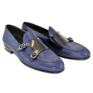 Corrente Blue Leather Men's Vamp Double Monk Strap Shoes