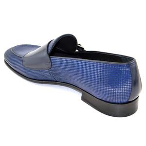Corrente Blue Leather Men's Vamp Double Monk Strap Shoes