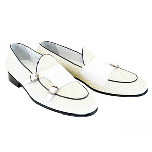 Corrente White Leather Men's Vamp Double Monk Strap Shoes