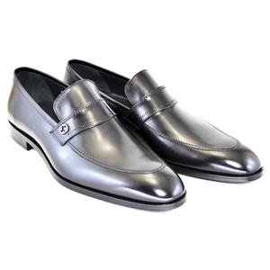 Corrente Black Leather Men's Slip On Loafer