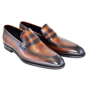 Corrente Brown Leather Men's Slip On Loafer