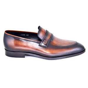 Corrente Brown Leather Men's Slip On Loafer