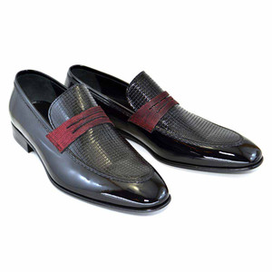Corrente Black Patent Leather Men's Loafers