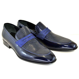 Corrente Navy Patent Leather Men's Loafers