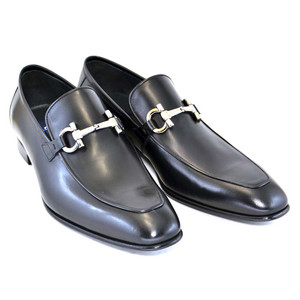 Corrente Black Genuine Leather Bit Buckle Men's Loafers