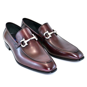 Corrente Burgundy Genuine Leather Bit Buckle Men's Loafers