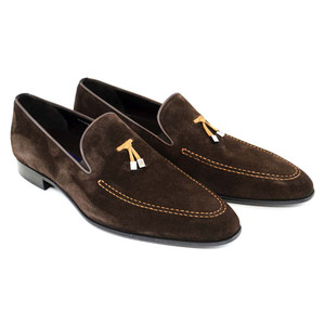 Corrente Brown Suede Leather Men's Slip On Loafers