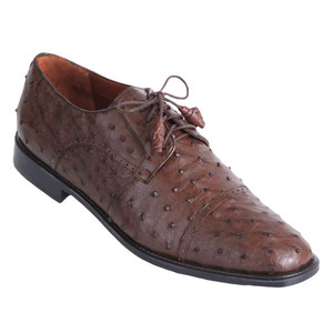 Los Altos Brown Full Quill Ostrich Cap Toe Men's Lace Up Shoes