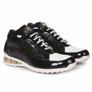 Mauri Bubble Black & White Genuine Crocodile Patent Leather Embossed Men's Sneaker