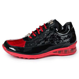 Mauri Bubble Black & Red Baby Crocodile Patent Leather Embossed Men's Sneaker