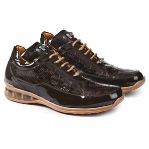 Mauri Bubble Brown Patent Leather Crocodile Embossed Men's Sneaker