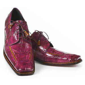 Mauri Prince Orchid & Mustard Baby Alligator Hand Painted Men's Oxford