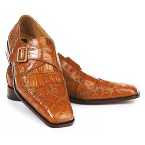 Mauri Preacher Cognac Body Alligator & Baby Crocodile Monk Strap Men's Shoes