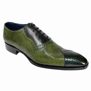 Duca Marino Green-Olive Chisel Toe Python Print Men's Oxfords