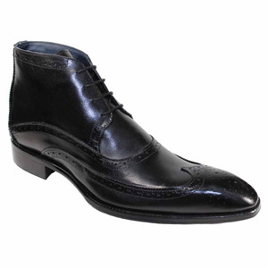 Duca Udine Black Wing Tip Men's Derby Ankle Boots