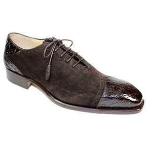 Fennix James Chocolate Alligator & Suede Men's Lace Up Shoe