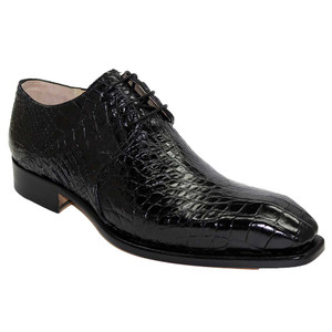 Fennix Oliver Black Alligator Plain Toe Men's Lace Up Shoe
