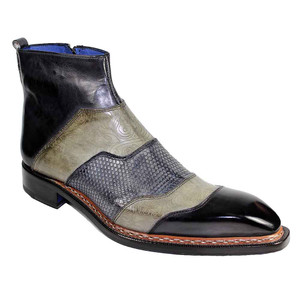 Emilio Franco Lucio Black Combo Multi-Colored Chisel Toe Zipper Boots