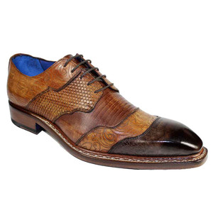 Emilio Franco Martino Brown Leather Combo Men's Derby Shoes