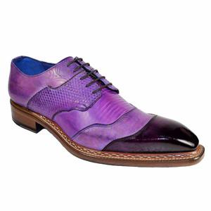Emilio Franco Martino Purple Leather Combo Men's Derby Shoes