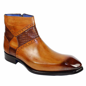 Emilio Franco Remo Cognac-brown Chisel Toe Side Zipped Men's Ankle Boots