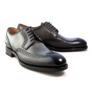 Ugo Vasare Colin Grey Genuine Calfskin Men's Lace-Up Derby Shoes