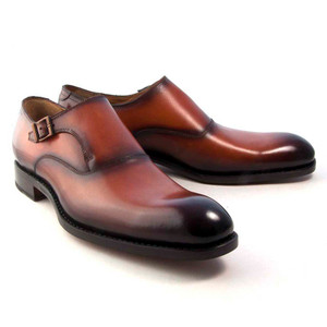 Ugo Vasare Fred Camel Brown Calfskin Leather Men's Monkstrap Shoe