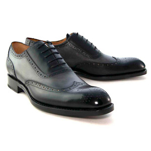 Ugo Vasare H and H Black-Grey Calfskin Leather Wingtip Men's Oxfords