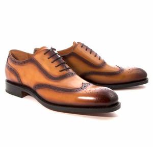 Ugo Vasare Honey Wing Tip Brogue Men's Derby Shoes