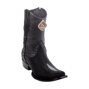 King Exotic Black Single Stone Stingray Dubai Toe Men's Short Boot
