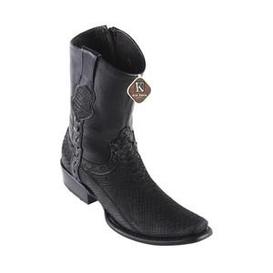 King Exotic Black Python Suede Leather Dubai Toe Men's Short Boot