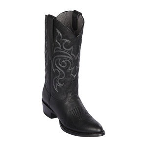 Los Altos Black Round Toe Grisly Leather Men's Western Boot