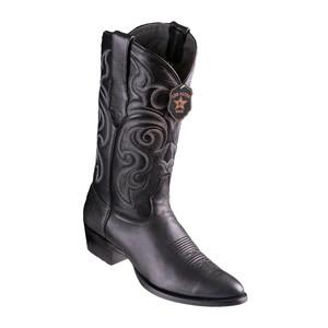 Los Altos Black Goat Leather Round Toe Men's Boot