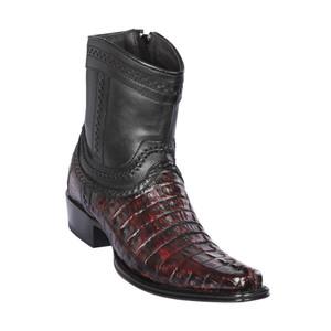 Los Altos Black Cherry Caiman Tail Low Shaft European Square Toe Men's Boot