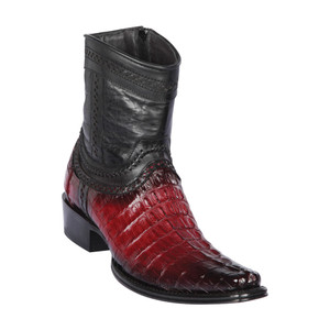 Los Altos Faded Burgundy Caiman Tail Low Shaft European Square Toe Men's Boot