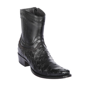 Los Altos Black Ostrich Low Shaft European Square Toe Men's Boot