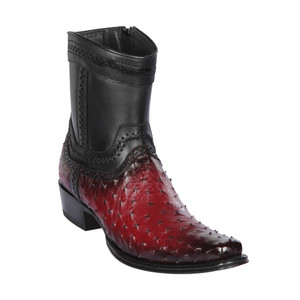 Los Altos Faded Burgundy Ostrich Low Shaft European Square Toe Men's Boot