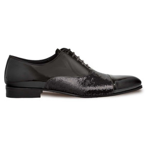 Mezlan Davos Black Patent Leather & Sequin Men's Oxford