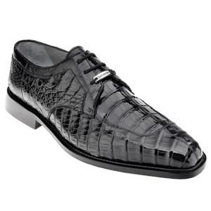Belvedere Susa Black Genuine Crocodile Derby Lace-Up