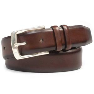 Mezlan Brown Hand Burnished European Calfskin Leather Men's Belt