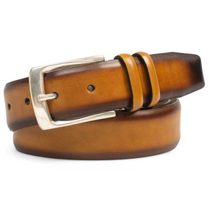 Mezlan Honey Hand Burnished European Calfskin Leather Men's Belt