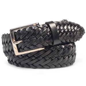Mezlan Black European Calfskin Woven Design Men's Belt