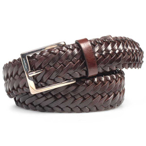 Mezlan Brown European Calfskin Woven Design Men's Belt