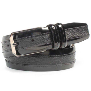 Mezlan Black Cordovan Calfskin and Luxurious Deerskin Men's Belt