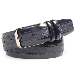 Mezlan Blue Cordovan Calfskin and Luxurious Deerskin Men's Belt