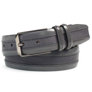 Mezlan Grey Cordovan Calfskin and Luxurious Deerskin Men's Belt