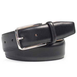 Mezlan Black Basic Hand Burnished Calfskin Men's Belt